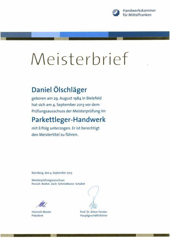 Meisterbrief Daniel Ölschläger