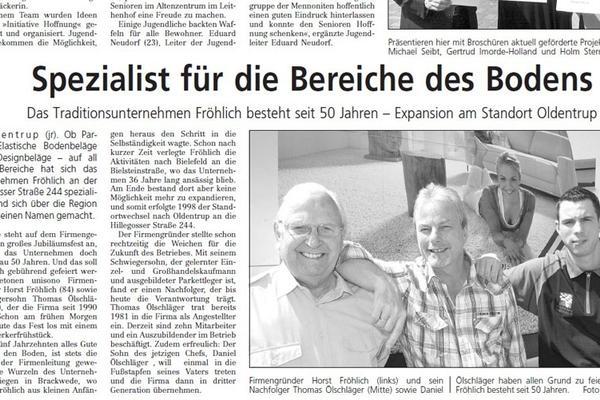 Zeitungsartikel Westfalenblatt